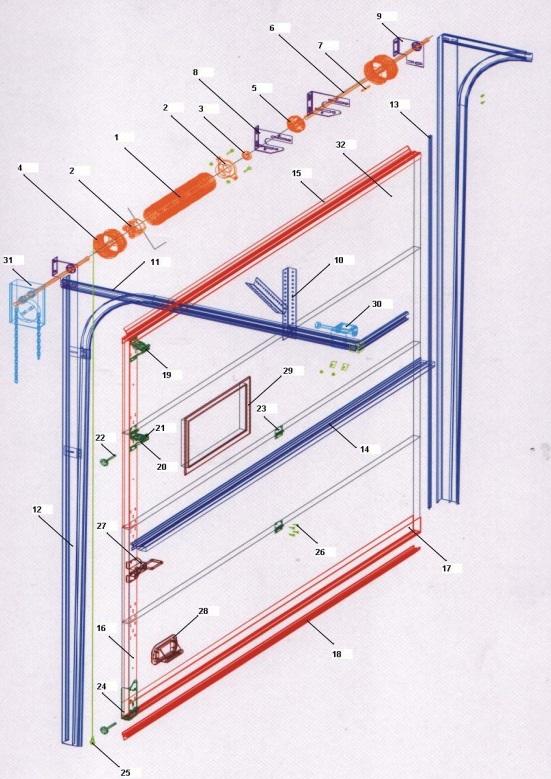 Схема промышленных секционных ворот