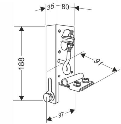 Кронштейн нижний угловой универсальный регулируемый с устройством натяжения троса