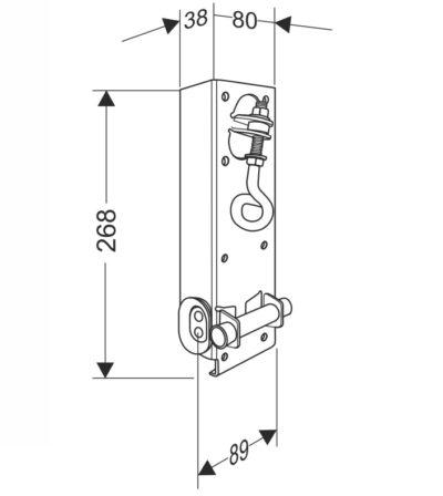 Кронштейн нижний угловой усиленный с устройством натяжения троса