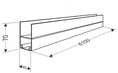 Нижний несущий профиль для секционных ворот с калиткой